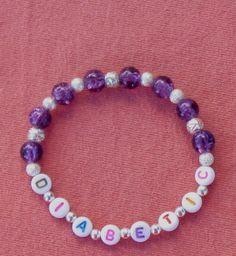 Diabetic Medical Alert Bracelet Purple Glass Handcrafted Stretch Jewelry $8.00   http://www.bonanza.com/listings/Diabetic-Medical-Alert-Bracelet-Purple-Glass-Handcrafted-Stretch-Jewelry-M12/90179207