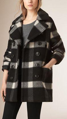 Black/ecru Check Virgin Wool Blend Pea Coat - Image 1