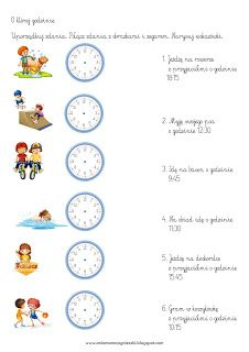 Ania mama Agnieszki: Zegar - godziny, minuty - zadania Worksheets, Crafts For Kids, Math, Words, School, Anna, Infant Activities, Speech Language Therapy, Exercises