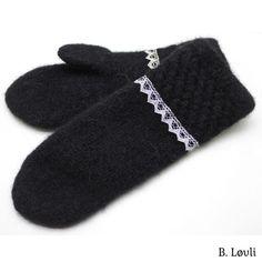 spildra sort m Mitten Gloves, Mittens, Needlework, Elegant, Knitting, Winter, Blog, Shopping, Fashion
