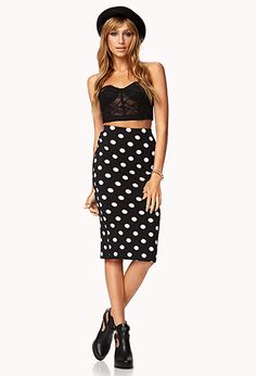 Retro Polka Dot Midi Skirt   FOREVER 21 - 2040891546