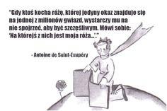Gdy ktoś kocha różę, której jedyny okaz... #SaintExupery-Antoine-De, #Miłość, #Szczęście Some Text, You Are Amazing, Meaningful Quotes, True Quotes, Quotations, Texts, Fairy Tales, Lyrics, Sad