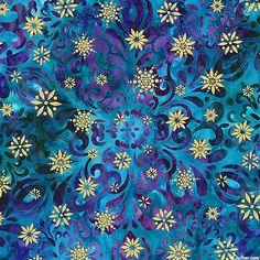 Snowflakes - Crystal Medallion Printed Batik - Jewel/Gold