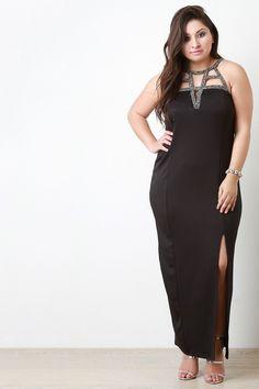 Gem Sleeveless Maxi Slit Dress - The Diva Boudoir Stylish Dresses, Cute Dresses, Formal Dresses, Maxi Dress With Slit, High Neck Dress, Beautiful Girl Image, Mode Hijab, Plus Size Maxi Dresses, Fashion Boutique