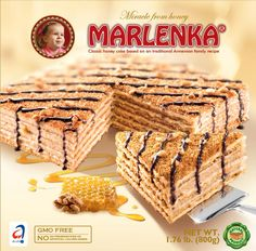 MARLENKA®is a delicious all natural honey and nut cake made according to an old Armenian family recipe.  A secret family procedure is used to make the milk and honey cream mixture that holds the layers of cake together. The top of the cake is drizzled with chocolate icing.  Thanks to its unique taste and attributes it has quickly become a favourite delicacy in many European countries. Enjoy this delicious honey cake with a cup of tea, coffee or chai latte. 100% natural - no preservatives…