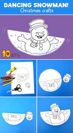 Dancing Snowman Craft - 10 Minutes of Quality Time - Crafts for Kids Dancing Snowman Craft Dancing Snowman Craft Clown Crafts, Santa Crafts, Reindeer Craft, Bear Crafts, Snowman Crafts, Snowman Wreath, Craft Activities For Kids, Christmas Activities, Preschool Crafts