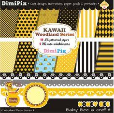 Honey Bee Papel Digital - Digital paper / texturas para cumpleaños / printables por DimiPix