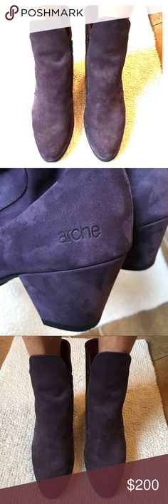 Purple Suede Booties - France Purple Suede Booties - Made in France - NWOT - EUC - - -      - no stains - no rips - nonsmoker  - no holds - no trades - no PayPal - Reasonable Offer Welcome! - Excluded from bundle discounts. Arche Shoes Ankle Boots & Booties