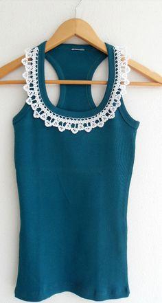 Crochet dentelle collier coton filé Top Blouse par ShawlsAndScarves