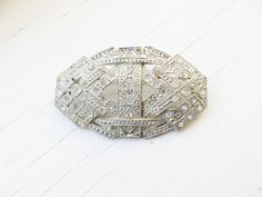 Art Deco Brooch Rhinestones Silver Pot Metal by IfindUseekVintage, $35.00