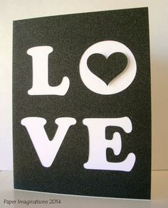 LOVE - Wedding Card - Anniversary Card -  Black and White Valentine Card by PaperImaginations for $4.75