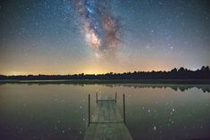 Dock and the Milky Way Galaxy at Coon Fork County Park.