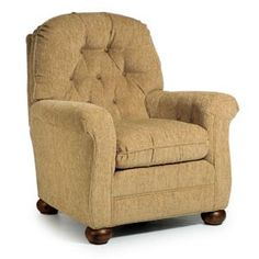 Great push-back chair. The back reclines for comfort and it has a matching ottoman to put your feet up.