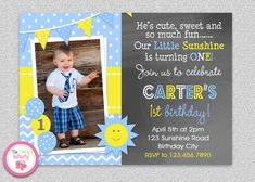 Boys Sunshine Birthday Invitation  You are my Sunshine