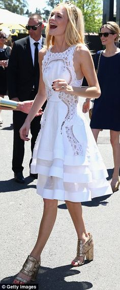Angelic: British model and socialite Poppy Delevingne looked beautiful in a demure white lace dress with gold accessories White Fashion, Look Fashion, Womens Fashion, Pretty Dresses, Beautiful Dresses, Gorgeous Dress, Lace Dress, Dress Up, Poppy Delevingne