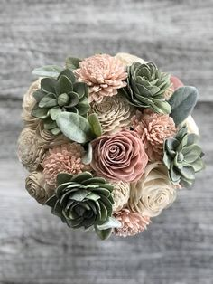 Succulent Bouquet - Blush Ivory Pink Sola Wood Flowers - Green - Wood Flowers - Made to Order - Forever Flowers - Wedding Flowers Soft Succulent Bouquet Wooden Flowers Blush Succulent Wooden Flower Bouquet, Sola Wood Flowers, Small Bouquet, Wooden Flowers, Bouquet Flowers, Gift Flowers, Boquet, Fake Flowers, Exotic Flowers