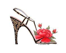 Mis Laminas para Decoupage Fashion Art, Fashion Shoes, Fashion Accessories, Fancy Shoes, Crazy Shoes, Adriana Rodrigues, Flower Shoes, Shoe Art, Painted Shoes