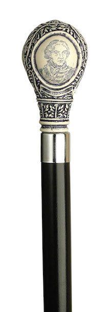✓ Scrimshaw Lord Nelson knob handle walking cane, Fashionable Canes -- $60.00