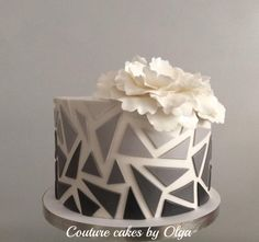 Modern ,ombré,, cake - cake by Couture cakes by Olga Art Birthday Cake, Elegant Birthday Cakes, Beautiful Birthday Cakes, Baby Birthday Cakes, Elegant Cakes, Cake Decorating Frosting, Cake Decorating Designs, Easy Cake Decorating, Birthday Cake Decorating