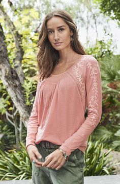 Poetic Moments Top - tonal, embroidered top with inset ladder lace.