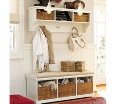 Entryway Furniture for Small Spaces for Modern Houses : White Bed Board With Pale Grey Wall Paint Equipped With Mounted Cabinet And Coat Hanger Also Tufted Bench With Storage