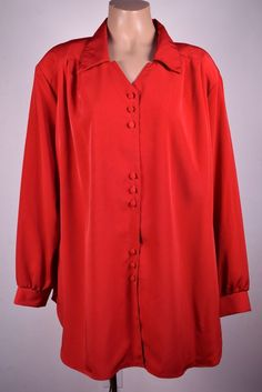 MAGGIE SWEET Oriental Anniv Womans Plus 2X 3X Red Long Sleeve Work Blouse Top #B #MaggieBarnes #ButtonDownShirt #Casual
