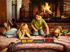 "Jim Daly Americana Artist -- ""The Firelight Express"" Jig Saw, Bo Bartlett, Norman Rockwell, Childhood Friends, Storytelling, Illustration, Jigsaw Puzzles, Old Things, Fine Art"