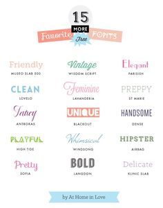 15 more favorite free fonts // At Home in Love  ~~ {15 free fonts w/ easy download links}