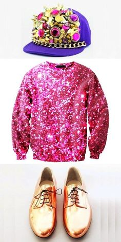 Hate those hats! Adore this pink sequined jumper though!!
