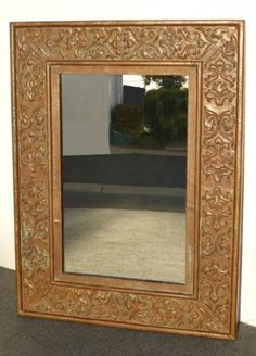 GORGEOUS LARGE VINTAGE COPPER REPOUSEE WALL MANTLE MIRROR w PATINA FLORAL DESIGN in Antiques, Decorative Arts, Mirrors | eBay