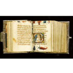 Miniature prayerbook, in Latin, illuminated manuscript on vellum.  lmost certainly written and illuminated for the Italian noblewoman, Agnese da Montefeltro (1450-1520), wife of Fabrizio Colonna and daughter of Battista Sforza: a damaged Colonna coat-of-arms