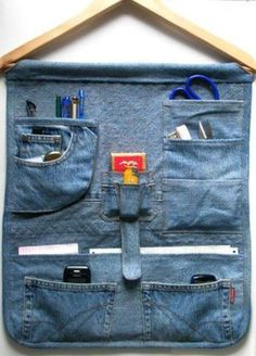 Hanging Locker Organizer. A bit of scrap denim and an old wooden hanger can make a great organizer for lockers, sewing supplies, or crafts. Sew denim to hanger and add pockets. Use an old pair of jeans with pockets in place and add additional pockets as needed.