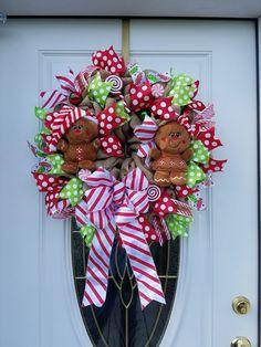 Front Door Gingerbread Burlap Wreath,Holiday Burlap Wreath, Christmas Front Door Wreath,Gingerbread Wreath,Gingerbread Door Decor by MeshWreathsnMore on Etsy