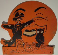Vintage Halloween Diecut ~ 3 Dimensional Standup Scarecrow, Owl and Full Moon