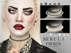 Nebula Choker Female by Pralinesims at TSR via Sims 4 Updates