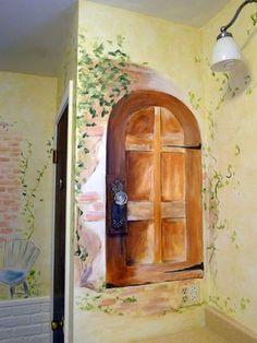 This makes me think of a secret garden nursery theme! Love it  (French-door-bathroom-mural-idea)   #french #themed #nursery #art #paris #france #parisian #chanel #fashion