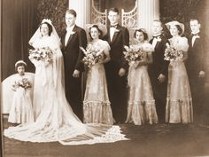 1940's  Wedding-- I suppose this is creepy but I like how the bridesmaids are standing with the person they walked in with and the flower girl close to me