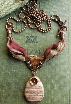 Antiqued Copper Metalwork Pendant Berry Mauve Lined Jasper Rose Sari Silk Ribbon Ceramic Jewelry, Copper Jewelry, Clay Jewelry, Boho Jewelry, Jewelry Crafts, Jewelery, Jewelry Design, Ribbon Jewelry, Fabric Jewelry