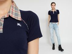 1980's Burberry Polo Shirt  Vintage 80s Blue Beige by mijumaju