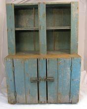 Antique Child's Blue Painted Step-back Cupboard: Removed Primitive Cabinets, Primitive Furniture, Primitive Antiques, Country Furniture, Distressed Furniture, Antique Furniture, Painted Furniture, Accent Furniture, Antique Paint