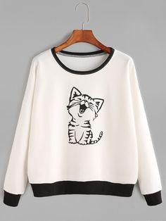 Cat Print Drop Shoulder Sweatshirt