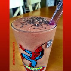 Cherry smoothie  1 pack frozen cherry smoothie 1/2 cup almond milk 1/2 cup apple juice 1 banana-frozen, 1 TBSP almond butter, 1 TBSP chia seeds 1 TBSP ground flaxseed   Blend, pour and enjoy!