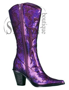 We are dressing up the country cowgirl look with a sassy layer of sequin on an eye catching purple color. It's a bold move, but these Helen's Heart boots are a complete fashion statement. These bright