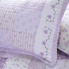 Shop The Gray Barn Quay Road Lilac Patckwork Quilt and Sham Set - Overstock - 20127430 - Lilac - King - 3 Piece Lilac Bedding, Bedroom Comforter Sets, Chic Bedding, Fairytale Home Decor, Wood Shelving Units, Twin Quilt, Queen Quilt, Shabby Chic Cottage, Quilt Sets