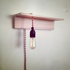 the bedside shelf lamp - industrial wood retro vintage lamp with red and white houndstooth cable - lighting and homewares on Etsy, £66.00