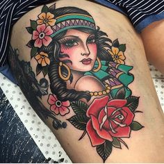 ~ New Traditional tattoo ~ woman and flowers Pin Up Tattoos, Trendy Tattoos, Body Art Tattoos, Tattoos For Women, Sleeve Tattoos, Gypsy Tattoo Sleeve, Ladies Tattoos, Watch Tattoos, Girly Tattoos