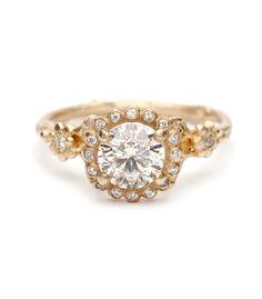 Dewdrops In the Garden - Brilliant Cut Champagne Diamond Ring