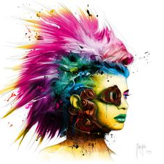 """JaxsonRea """"Cyber Punk II"""" by Patrice Murciano Graphic Art on Wrapped Canvas Size: Murciano Art, Patrice Murciano, Cyberpunk Kunst, Hanging Pictures, Stretched Canvas Prints, Bunt, Giclee Print, Cool Art, Awesome Art"""