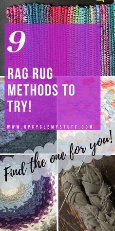 9 different methods for making a rag rug from your scrap fabric. Includes braided t-shirt rugs, crocheted rag rugs, no sew rag rugs & rugs from fabric twine and old towels. From beginners to advanced. Find the perfect method for you! Fabric Yarn, Fabric Scraps, Scrap Fabric, Rag Rug Diy, Diy Rugs, Diy Crochet Rag Rug, Rag Rug Tutorial, Braided Rug Tutorial, Homemade Rugs