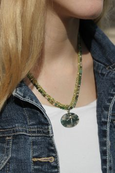 Sterling Silver Moss Green Agate & Peridot Gemstone, Artisan Made Dragon Fly Double Strand Natural Stone Necklace~FREE shipping Unique Gifts by studiogracie on Etsy